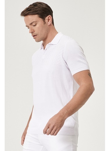 Beymen Business 4B4820200025 Petrol Slim Fit Triko Kısa Kol Beyaz